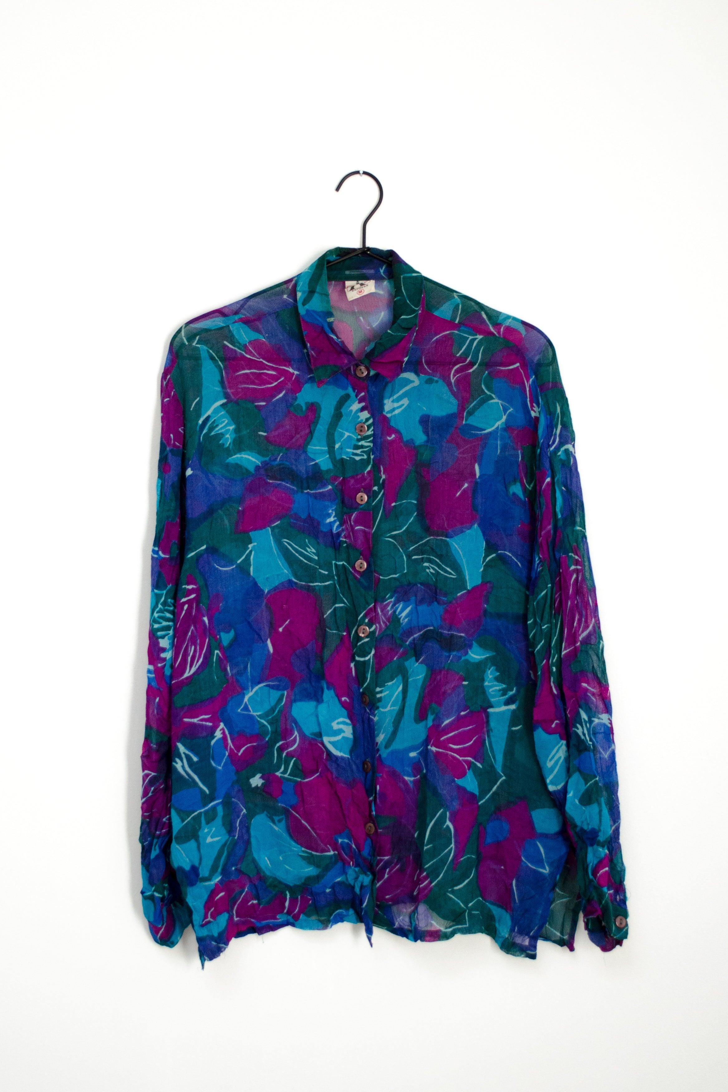 Vintage 90s Blue Sheer Floral Shirt by Express Paris / S-M