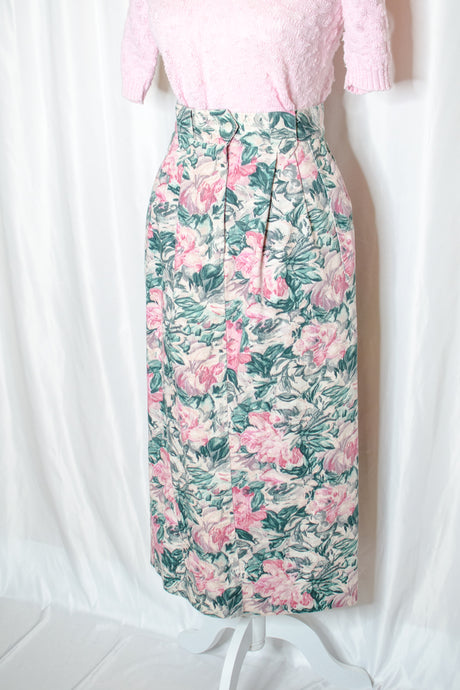 80s Pink Rose Print Long Skirt / S