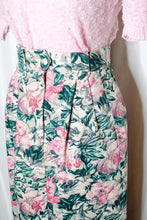 Load image into Gallery viewer, Vintage 80s Pink Rose Print Long Skirt / S