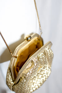 Vintage 80s Gold Evening Bag