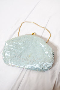 Vintage 50s Light Blue Beaded Evening Bag