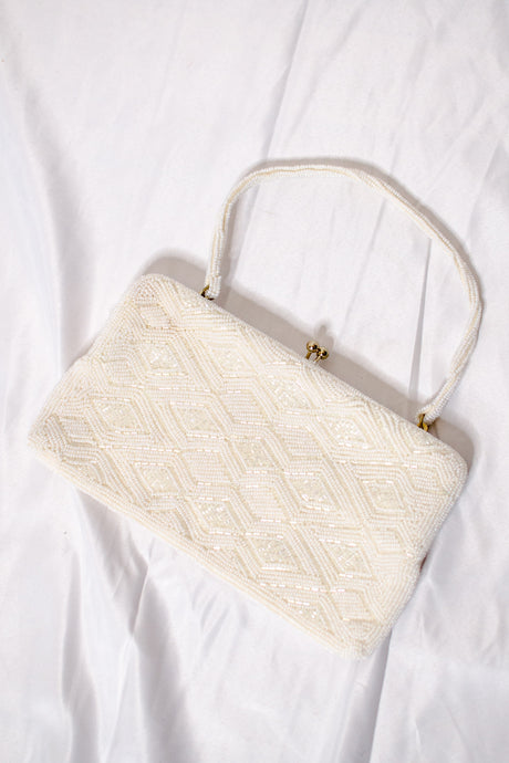 Vintage 60s White Beaded Evening Clutch