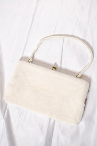 60s White Beaded Evening Clutch