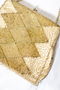 Vintage 60s Gold Beaded Evening Bag
