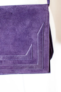 Vintage 80s Purple Faux Suede Envelope Cross body Clutch
