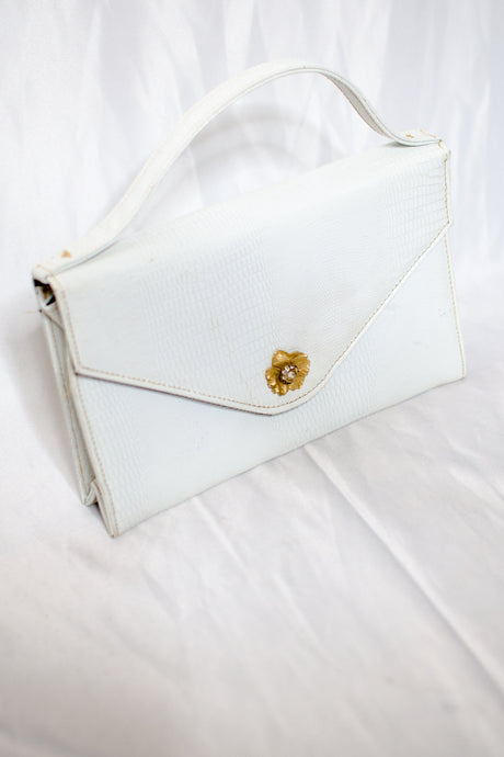 Vintage White Faux Leather Structured Handbag