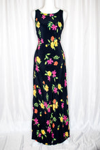 Load image into Gallery viewer, 90s Black Floral Maxi Dress / S-M