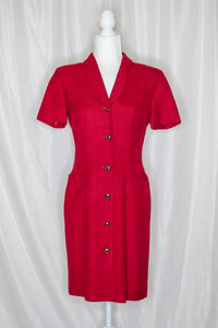 Vintage 80s Deep Red Shirt Dress / XS-S