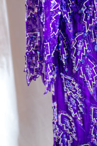 Vintage 80s Purple Beaded Dress / S-M