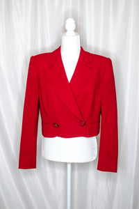 Vintage 90s Red Crop Blazer / S-M