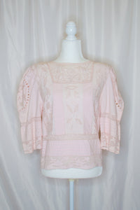 Vintage 80s Pink Embroidered Blouse / S-M