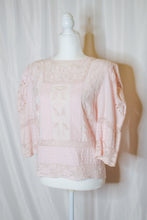 Load image into Gallery viewer, Vintage 80s Pink Embroidered Blouse / S-M