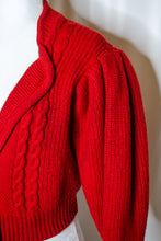 Load image into Gallery viewer, Vintage Red Puff Sleeve Cardigan / S-L
