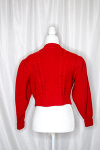 Vintage Red Puff Sleeve Cardigan / S-L