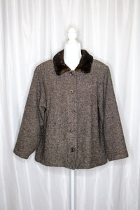 Vintage 90s Brown Tweed Swing Coat / S-L