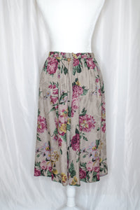 80s Grey Floral Skirt / S-M