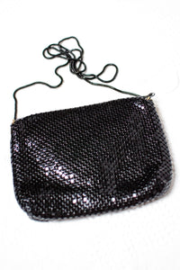Vintage Black Metal Mesh Evening Bag,