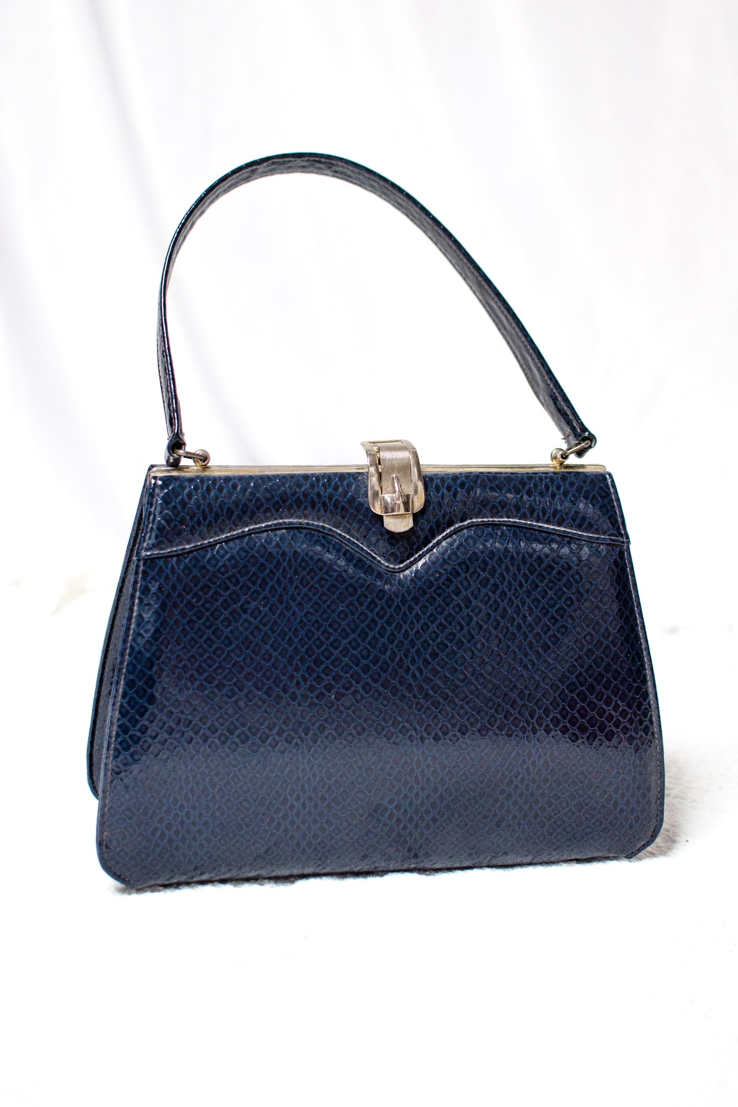 Vintage 60s Navy Reptile Print Top Handle Purse