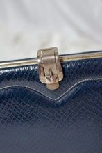 Load image into Gallery viewer, Vintage 60s Navy Reptile Print Top Handle Purse