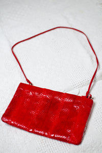 Vintage Red Faux Snake Shoulder Bag