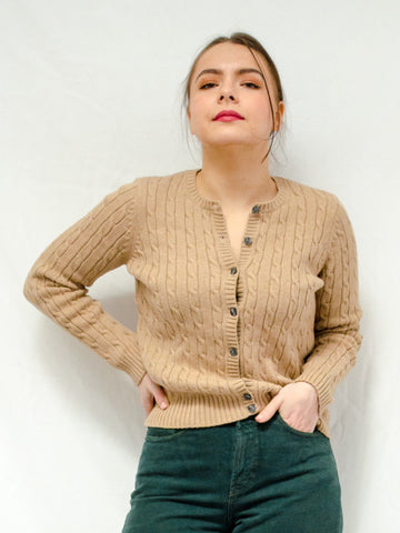 Vintage Camel Cable Knit Cardigan / XS-M