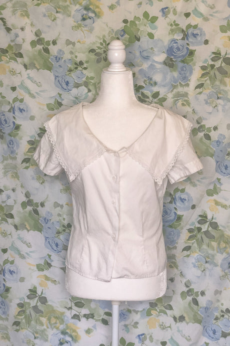Vintage 40s-50s White Exaggerated Collar Shirt / XS-S