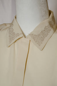 90s Cream Embroidered Silk Shirt / S