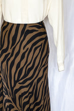 Load image into Gallery viewer, 90s Black and Brown Zebra Silk Skirt / M
