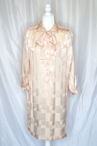 70s Cream Jacquard Shirt Dress / S-M