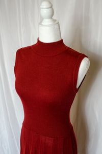 Vintage 70s Rust Red Sweater Dress / XS