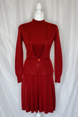 70s Rust Red Sweater Dress / XS
