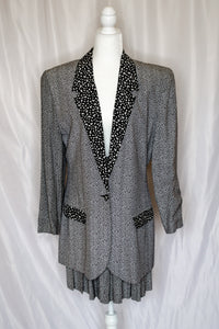 Vintage 90s Black and White Printed Blazer & Skirt Set / L