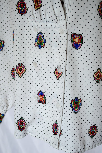 80s White and Black Printed Shirt / S-M