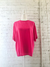 Load image into Gallery viewer, 80s Hot Pink Silk Tee Blouse / S-L
