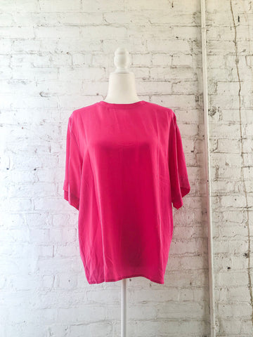 80s Hot Pink Silk Tee Blouse / S-L