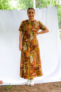 Vintage Brown Medallion Print Maxi Dress / M