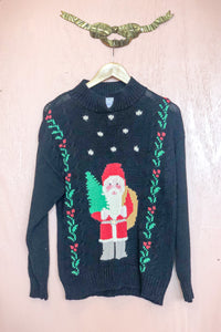 Vintage Hand Knit Santa Sweater / S