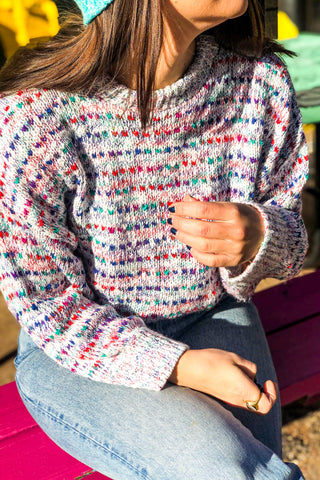 80s Rainbow Knit Sweater / S-L