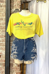 Reworked High Waisted Denim Shorts / Waist: 29""