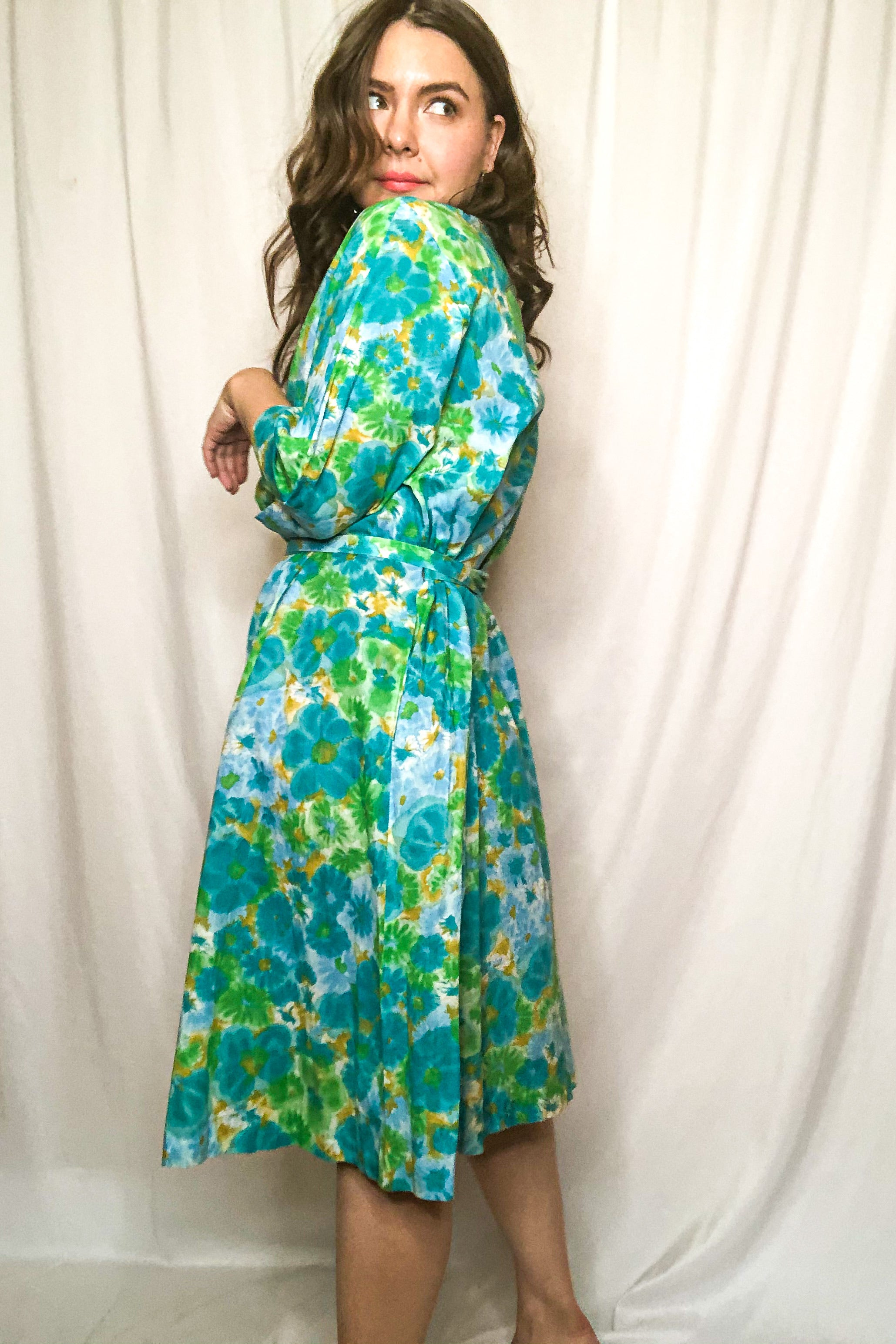Vintage 60s Blue Floral House Dress / S - M