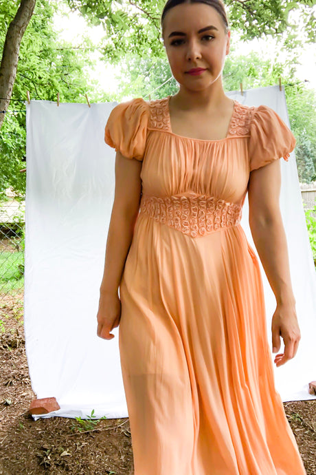 Vintage 40s-50s Peach Sheer Dress / S