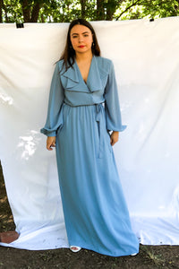 Vintage 70s Blue Wrap Dress / S-L