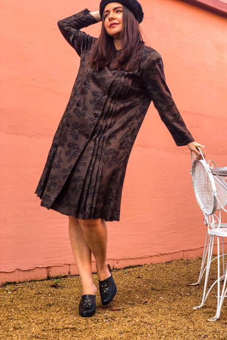 70s Brown and Black Shirt Dress / S-M