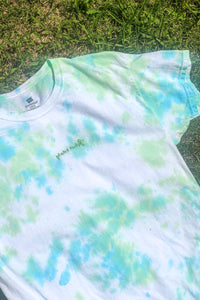 Lime & Blue Crumple Tie-Dyed Tee / S-M