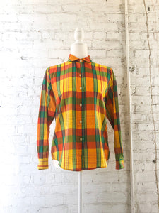 Vintage Yellow Plaid Shirt / S