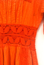 Load image into Gallery viewer, Vintage 70s Orange Mexican Crochet Boho Dress / S