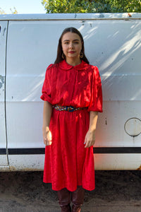 70s Red Jacquard Dress / S-M