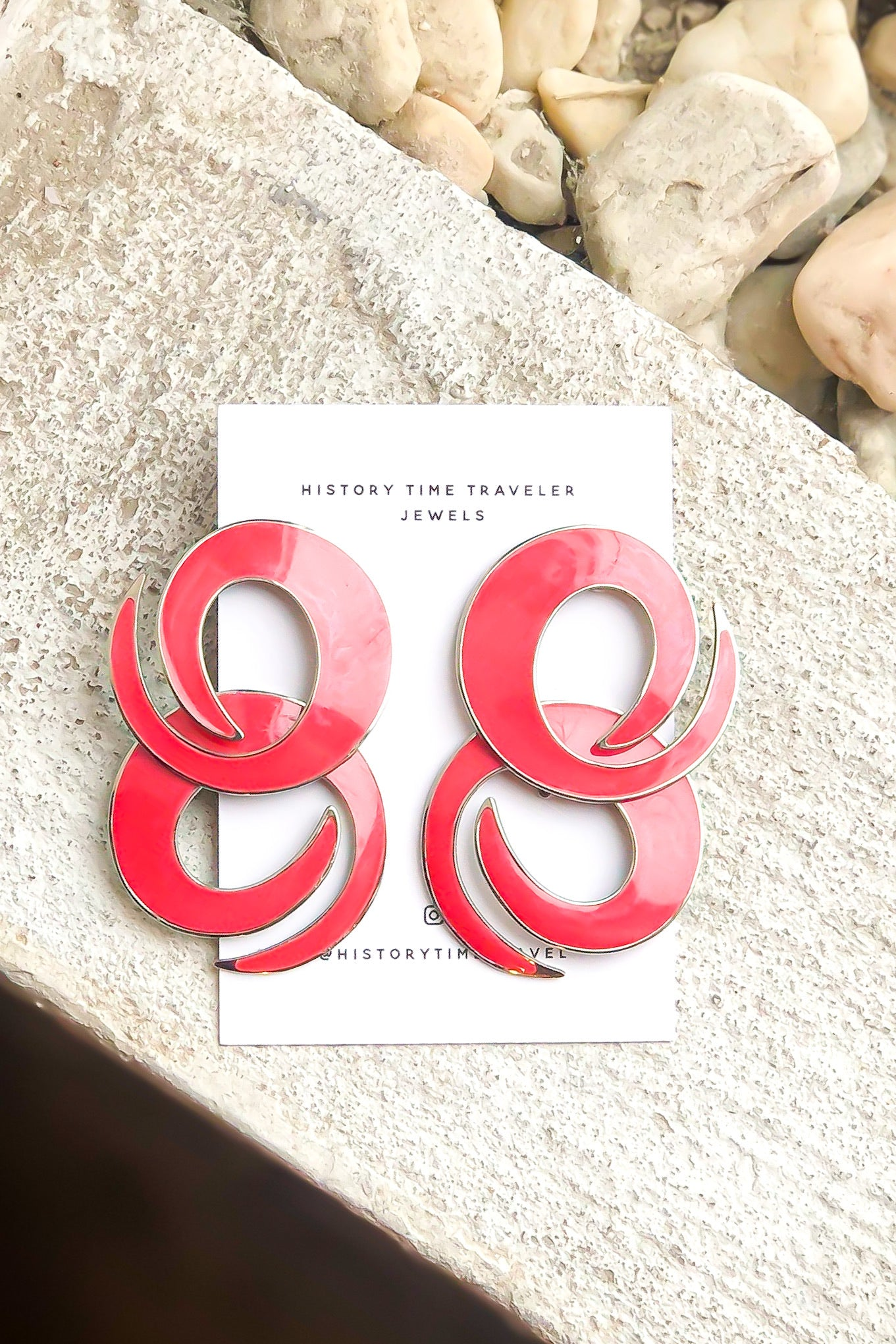 Vintage Pink Abstract Form Earrings