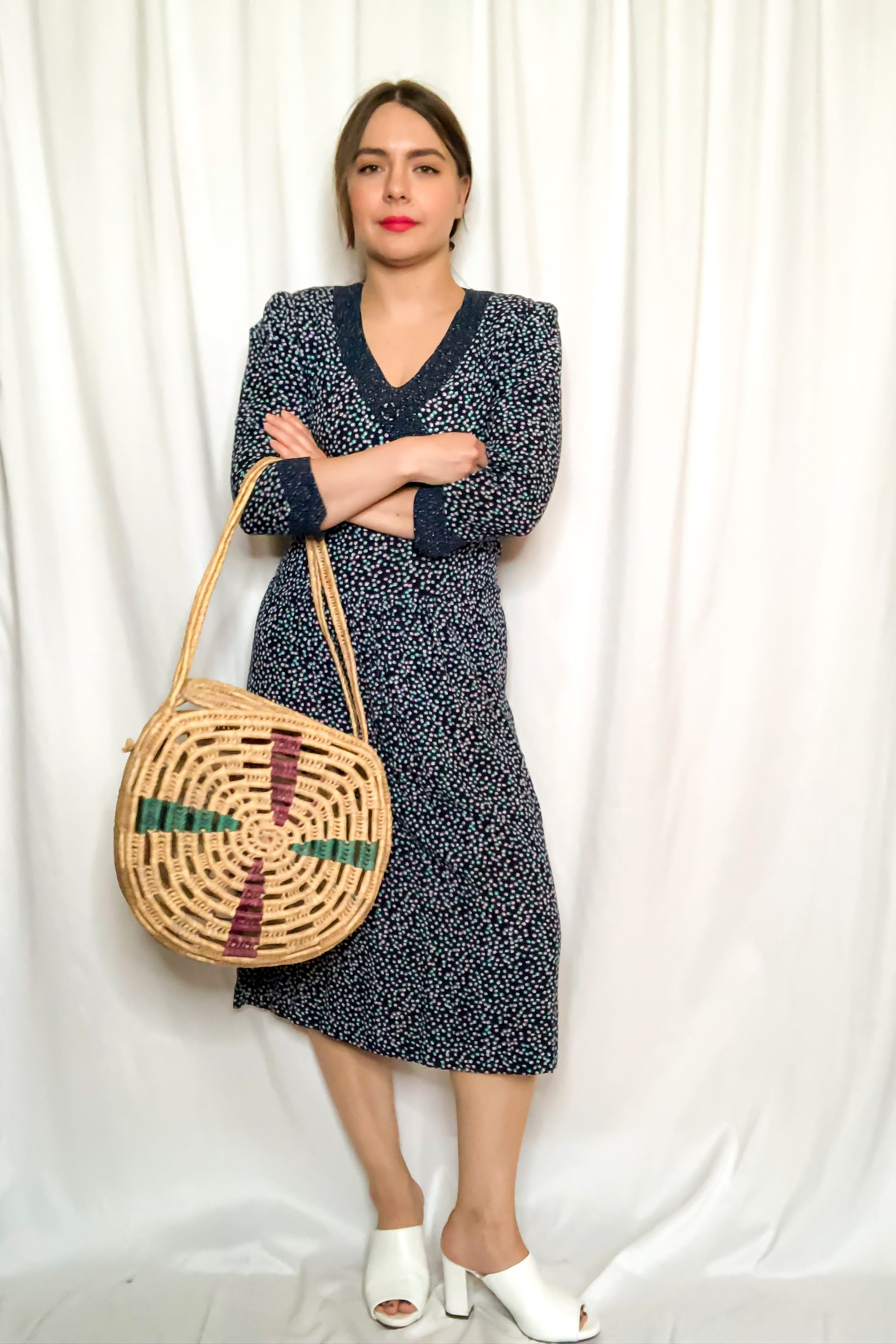 Vintage Woven Circle Basket Bag