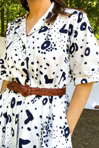Vintage 70s Navy Animal Print Dress / S-M